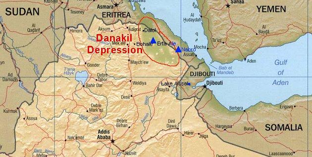 Mapa da Depressão de Danakil