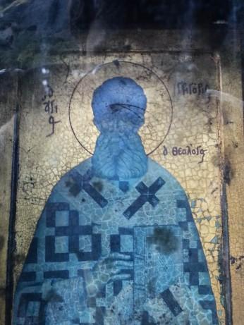 Detalhe de santo em parte externa de igreja