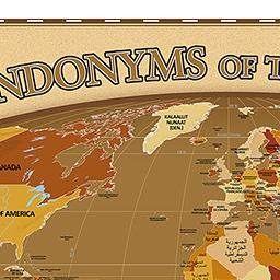 Mapa com nomes dos países em suas línguas nativas.